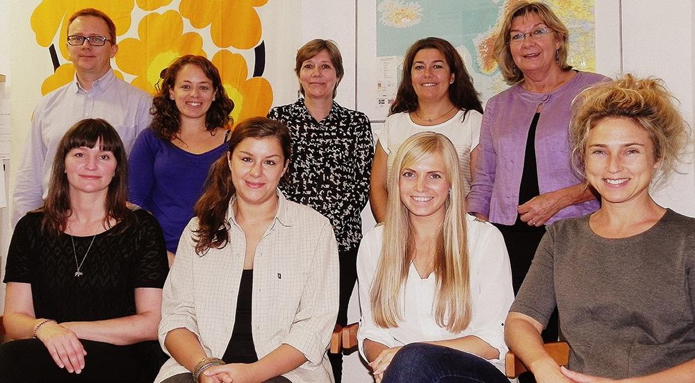 Nuestro equipo (deizq. a derecha): Bibi, Hannu, Dea, Amanda, Sissel,Mireia,Martine y Anni.